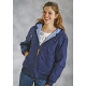 Roper Ladies Hooded Canvas Jacket - Navy Paisley
